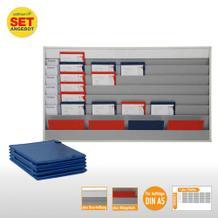 Plantafel-Set - mit Wechselleiste - für DIN A5 - für 30 Aufträge + 30 Taschen