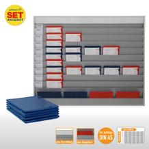 Plantafel-Set - mit Wechselleiste - für DIN A5 - für 50 Aufträge + 50 Taschen