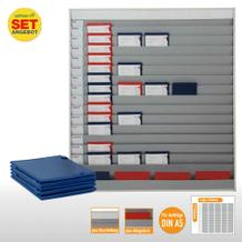 Plantafel-Set - mit Wechselleiste - für DIN A5 - für 75 Aufträge + 80 Taschen