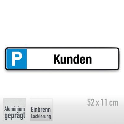 Parkplatzschild Symbol: P, Text: Kunden