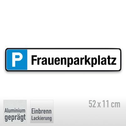 Parkplatzschild Symbol: P, Text: Frauenparkplatz