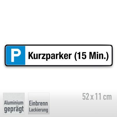 Parkplatzschild Symbol: P, Text: Kurzparker (15 Min.)