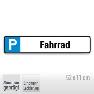 Parkplatzschild Symbol: P, Text: Fahrrad
