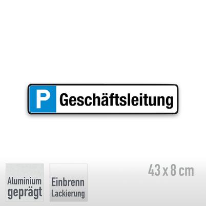 Parkplatzschild Symbol: P, Text: Geschäftsleitung