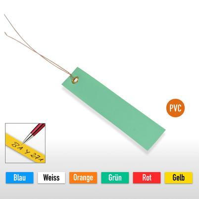 PVC-Hänge-Etiketten mit Draht, Größe 100 x 18 mm (VE = 250 Stck.)