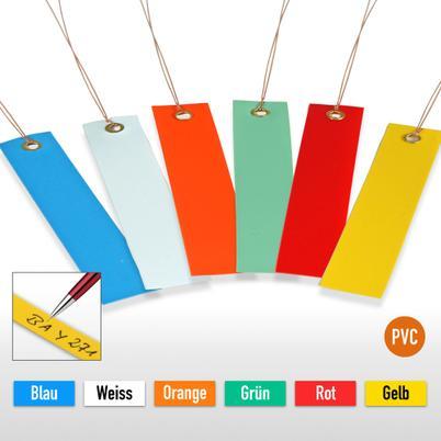 PVC-Hänge-Etiketten mit Draht, Format 100 x 30 mm (VE = 250)