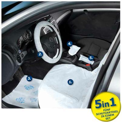Einweg-Fahrzeugschutz-Artikel Set für PKW, CARE KIT- 5 in 1