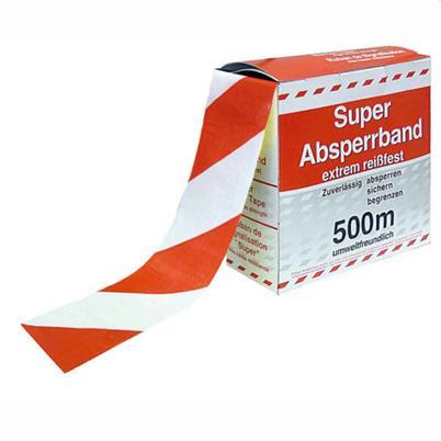 Absperrband in Spenderbox - Abrollvorrichtung - Rot/Weiss - ohne oder mit Text
