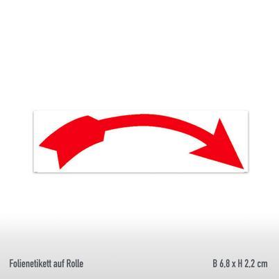 Drehrichtungspfeile - Ausführung: gebogen rechtsweisend, rot, abriebfest