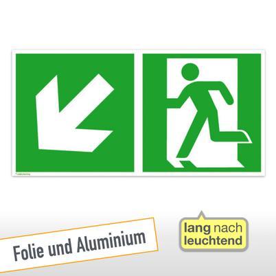 Fluchtwegschild - Notausgang links mit Zusatzzeichen