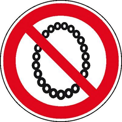 Verbotsschild - Bedienung mit Halskette verboten
