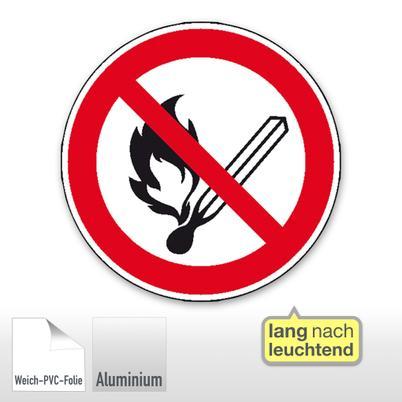 Verbotsschild - Feuer, offenes Licht und Rauchen verboten, langnachleuchtend