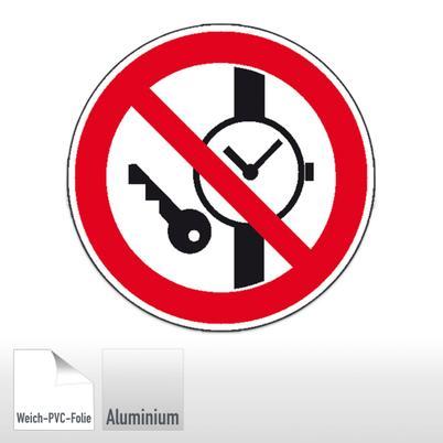 Verbotsschild Mitfuhren Von Metallteilen Oder Uhren Verboten