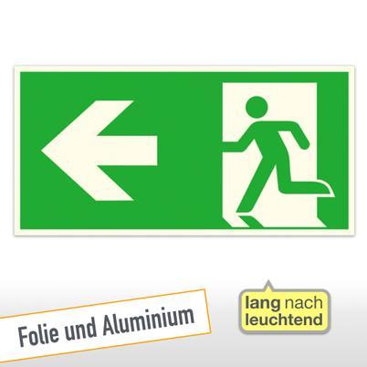 Kombischild - Notausgang links mit Richtungsangabe links