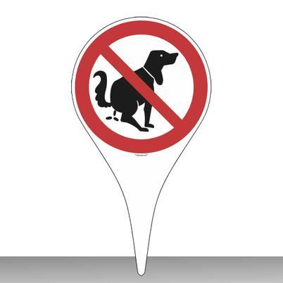 Erdspieß mit Verbotsschild - Hier kein Hundeklo