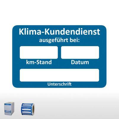 Kundendienst-Aufkleber mit unterschiedlichen Hinweistexten