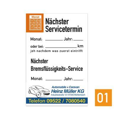 """Service-Aufkleber """"Nächster Service"""" mit Firmeneindruck"""