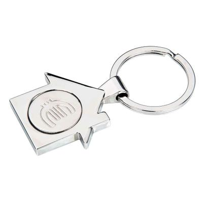 """Schlüsselanhänger """"HAUS"""" aus Metall mit EK-Chip"""