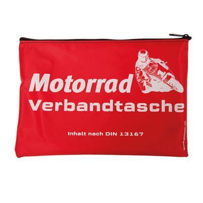 Verbandtasche Motorrad rot, mit Standarddruck weiß