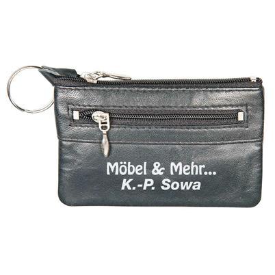 Leder-Schlüsseltaschen schwarz mit Kleingeldfach