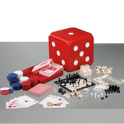 """Spiele-Set """"CUBE"""", 6 Spiele in Würfel aus Kunststoff"""