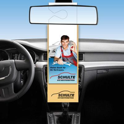 Autotuch mit Werbe-Hängekarte für den KFZ-Innenspiegel