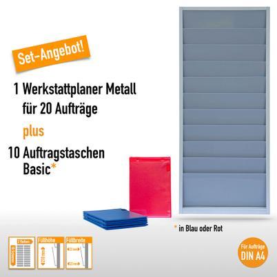 Top-Angebot! 1 Plantafel + 10 Auftragstaschen für DIN A4